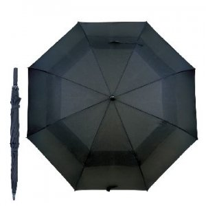 BLACK 30 AUTO GOLF UMBRELLA WITH FIBRE GLASS SHAFT