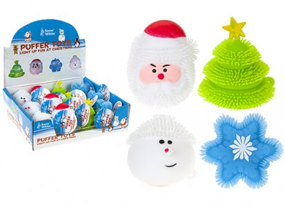 LIGHT UP CHRISTMAS PUFFER TOYS 4 ASST