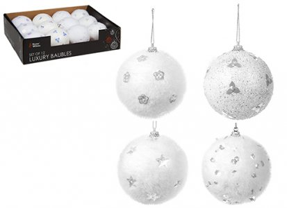 8CM WHITE SNOW COLLECTION BAUBLES SET OF 12