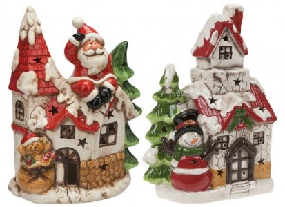 37CM LIGHT UP HOUSES WITH SANTA AND SNOWMAN - 2 ASST