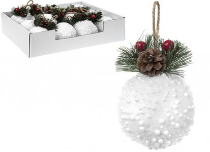 8CM SNOW EFFECT WHITE BAUBLES W/PINE CONE SET OF 12