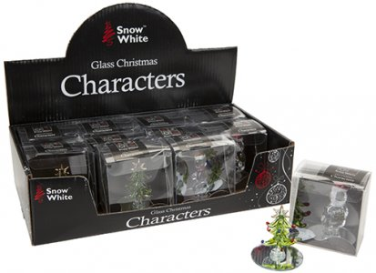 GLASS CHRISTMAS CHARACTERS 3 ASSORTED