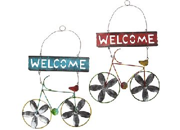 BICYCLE HANGING WELCOME SIGNS 2 ASST