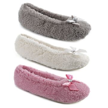 LADIES BASIC CORAL FLEECE BALLET SLIPPER - Click Image to Close